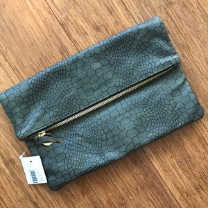 Clare V unused snakeskin fold over clutch